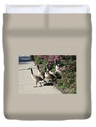 Garden Geese Parade Duvet Cover