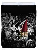 Garden Gnome With Gray Background Duvet Cover