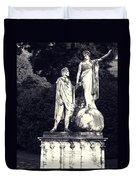 Garden Statue At Villa Capri Duvet Cover