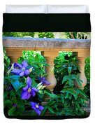 Garden Wall With Periwinkle Flowers Duvet Cover
