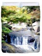 Garden Waterfall With Koi Pond Duvet Cover
