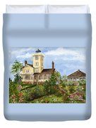 Gardens At Hereford Inlet Lighthouse  Duvet Cover