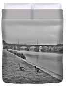 Geese Along The Schuylkill River Duvet Cover
