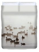 Geese And Ducks In A Placid Lake Duvet Cover