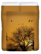 Geese At Sunrise Duvet Cover