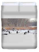 Geese Take Flight Over The Maumee River Duvet Cover