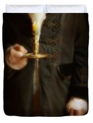 Gentleman In Vintage Clothing Holding A Candlestick Duvet Cover
