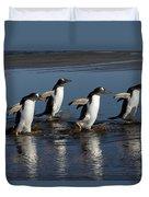 Gentoo Penguin Pygoscelis Papua Group Duvet Cover