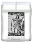 George Cumberland (1558-1605). George De Clifford Cumberland. 3rd Earl Of Cumberland. English Naval Commander And Courtier. Line Engraving, English, Early 19th Century Duvet Cover