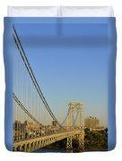 George Washington Bridge And Boat Duvet Cover