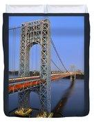 George Washington Bridge At Twilight Duvet Cover