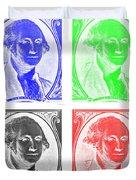 George Washington In Quad Negative Duvet Cover