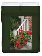 Geraniums On The Steps Duvet Cover