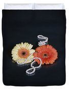 Gerberas With Pearls Duvet Cover