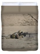 German Soldier Firing A Barrett M82a1 Duvet Cover