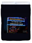 Ghirardelli Chocolate Signs At Night Duvet Cover