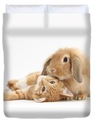 Ginger Kitten Lying With Sandy Lionhead Duvet Cover