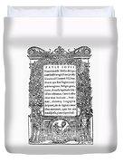 Giovio: Title Page, 1525 Duvet Cover