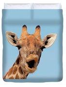 Giraffe Calling Duvet Cover