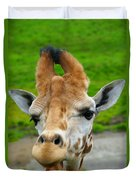 Giraffe In The Park Duvet Cover