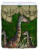 Giraffes In A Golden Forest Duvet Cover