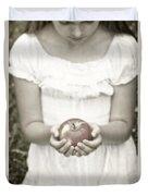 Girl And Apple Duvet Cover