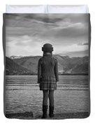 Girl At A Lake Duvet Cover