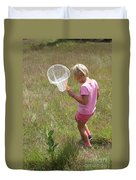 Girl Collecting Insects In A Meadow Duvet Cover
