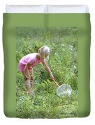 Girl Collects Insects In A Meadow Duvet Cover by Ted Kinsman