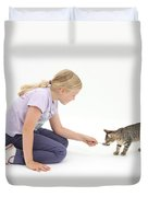 Girl Feeding Kitten From A Spoon Duvet Cover by Mark Taylor
