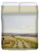 Girl In The Fields   Duvet Cover