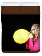 Girl Inflating Balloon Duvet Cover