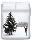 Girl Measuring Tree Height Duvet Cover