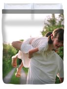 Girl On Fathers Shoulder Duvet Cover by Michelle Quance