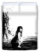 Girl On The Edge Of The Water Duvet Cover