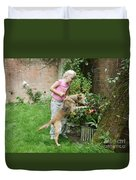 Girl Playing With Dog Duvet Cover
