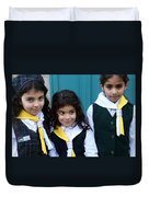 Girl Scouts At Orthodox Christmas Celebration Duvet Cover