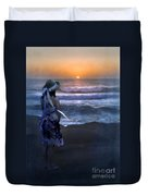 Girl Watching The Sun Go Down At The Ocean Duvet Cover