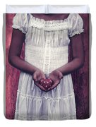 Girl With A Heart Duvet Cover
