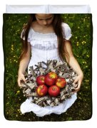 Girl With Apples Duvet Cover