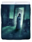 Girl With Candle In Doorway Duvet Cover by Jill Battaglia