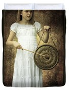 Girl With Gong Duvet Cover