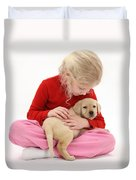 Girl With Puppy Duvet Cover