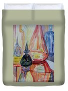 Glass Bottles Still Life Duvet Cover