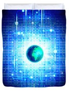 Globe With Technology Background Duvet Cover