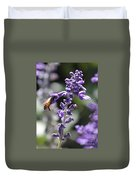 Glowing Bee In Purple Flowers Duvet Cover