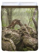 Gnarly Old Tree In Fog Along The Blue Ridge Parkway Duvet Cover by Bill Swindaman