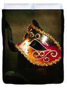 Gold Scroll Masquerade Mask Duvet Cover