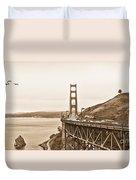Golden Gate Bridge In Sepia Duvet Cover