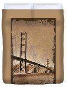 Golden Gate Bridge Sepia Duvet Cover